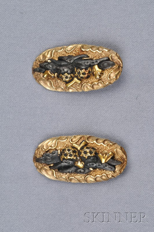 18kt Gold and Shakudo Earclips, Gump's