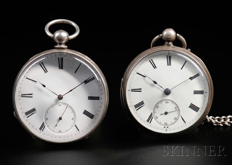 Two Silver Open Face Watches