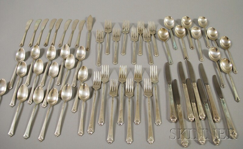 "Royal Crest ""Castle Rose"" Pattern Sterling Silver Partial Flatware Service for   Eight"
