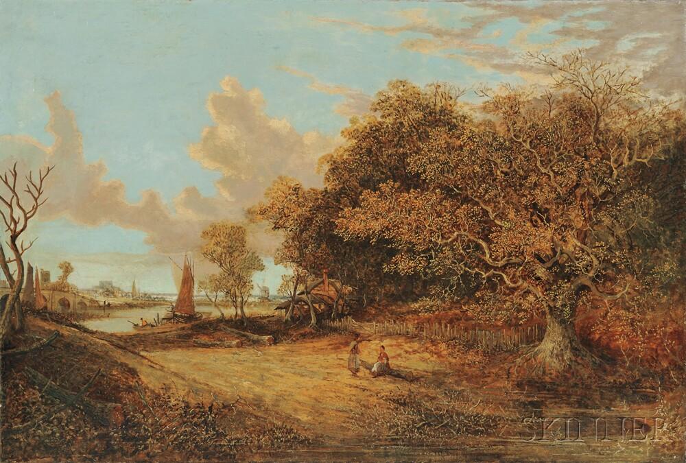 Continental School, 19th Century      Figures in a Dutch Landscape
