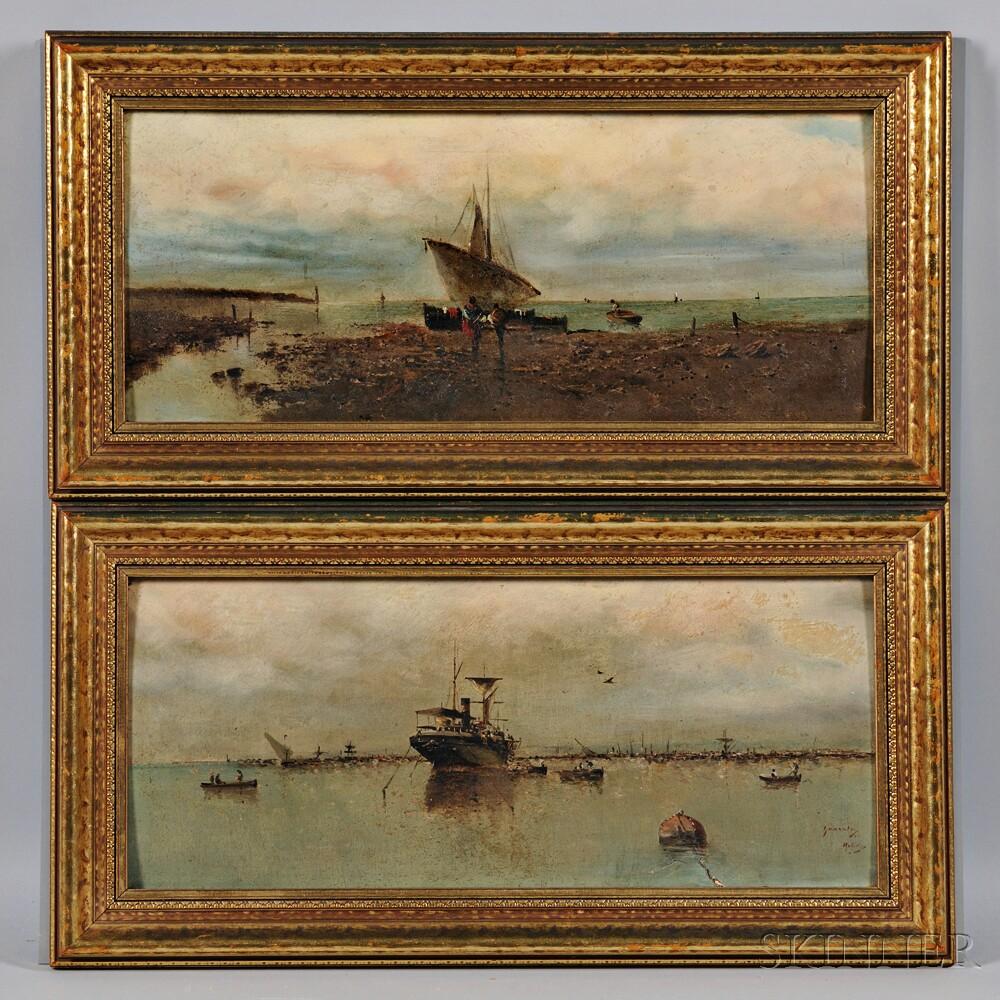 Spanish School, 19th Century      Pair of Coastal Views:  Steamer at Anchor