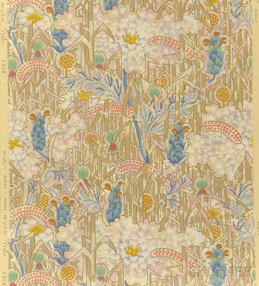 After Charles Ephraim Burchfield (American, 1893-1967), Thirty-seven Wallpaper Samples (36 flat and one roll) for M.H. Birge and Sons,