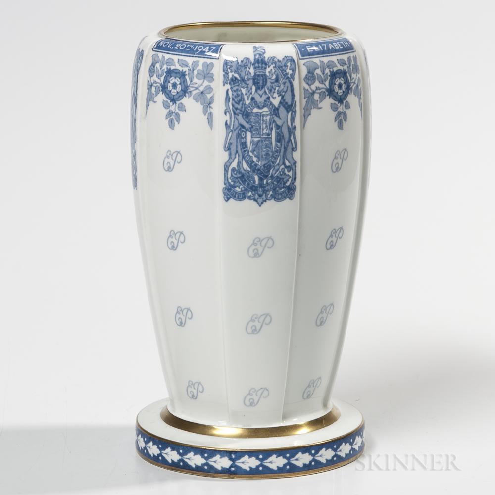 Minton Bone China Princess Elizabeth & Lt. Philip Mountbatten RN Marriage Vase