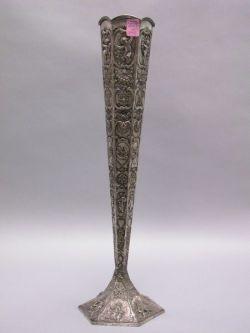 Tall Hexagonal Repousse Silver Vase.