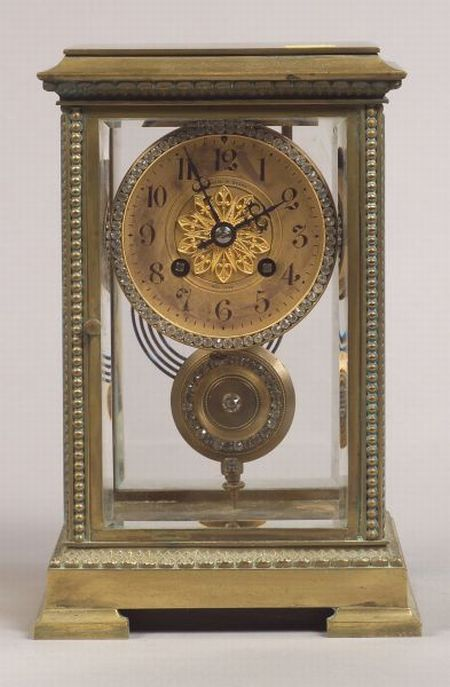 French Bronze and Glass Shelf Clock
