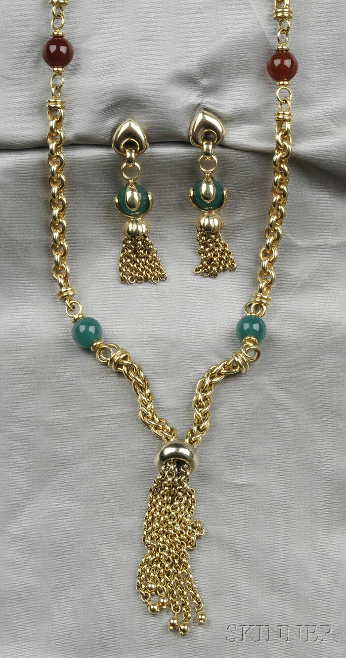 14kt Gold and Hardstone Necklace and Earpendants