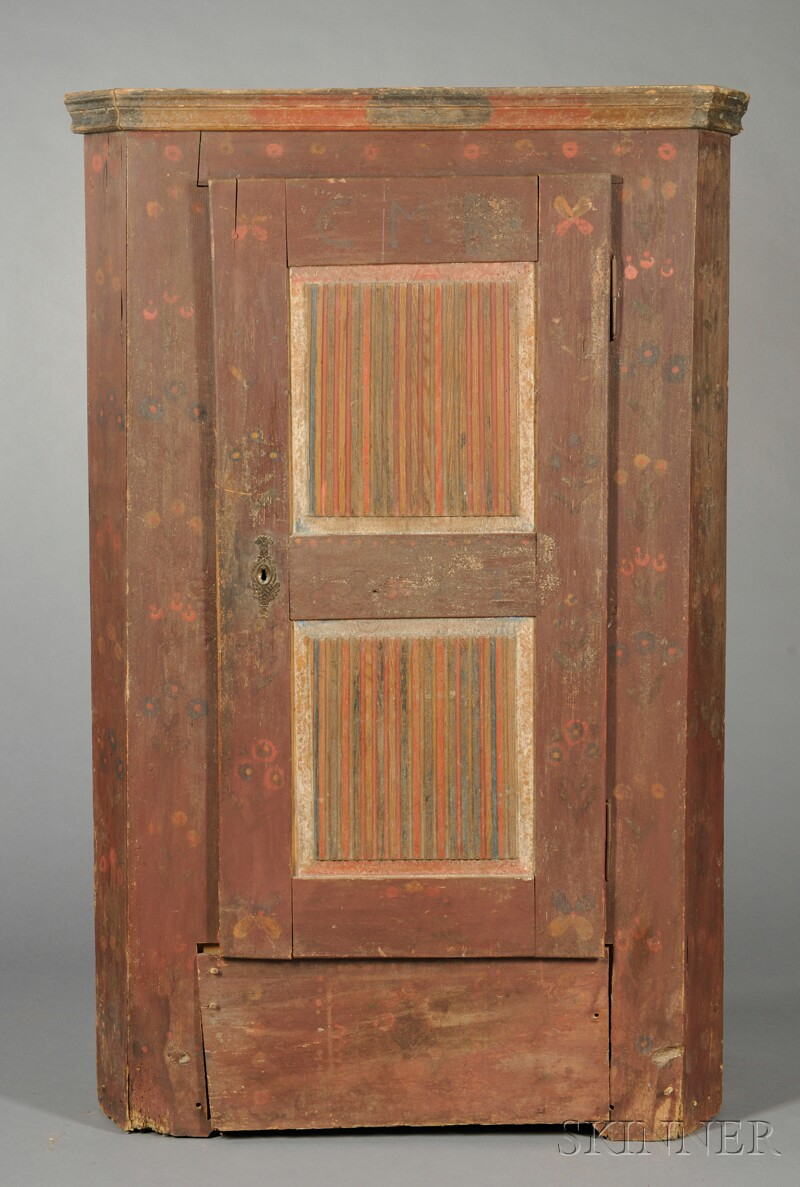 Bavarian Painted Pine Single-door Armoire