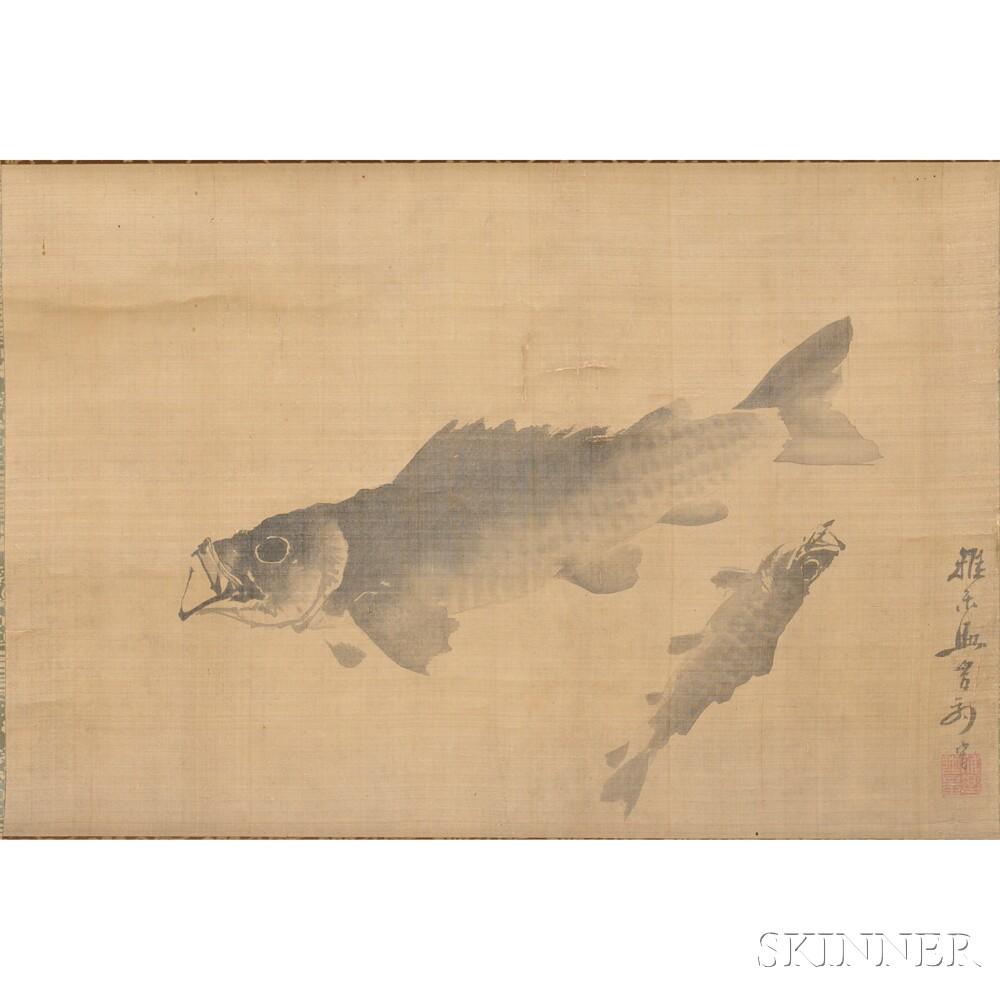 Hanging Scroll Depicting Fish
