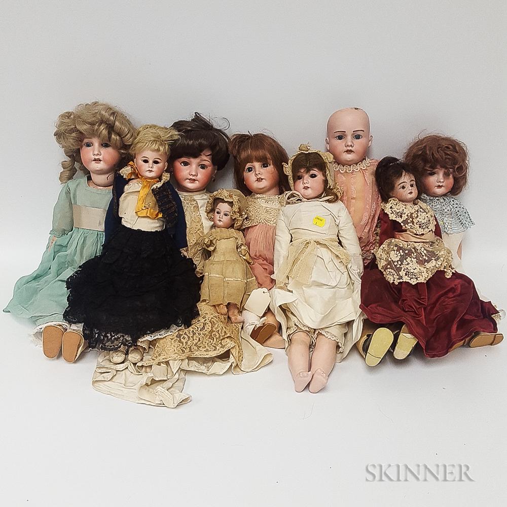 Eighteen Mostly German Bisque Head Dolls