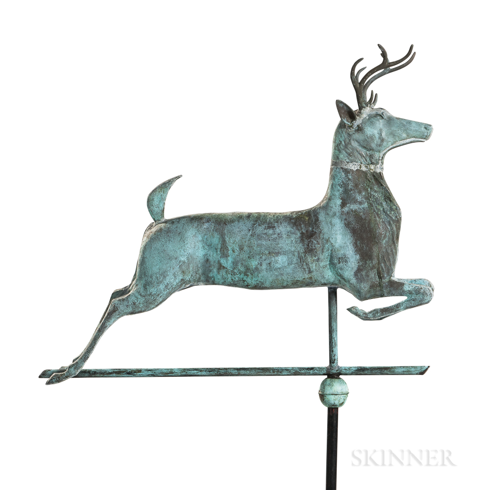 Molded Copper and Cast Zinc Leaping Stag Weathervane