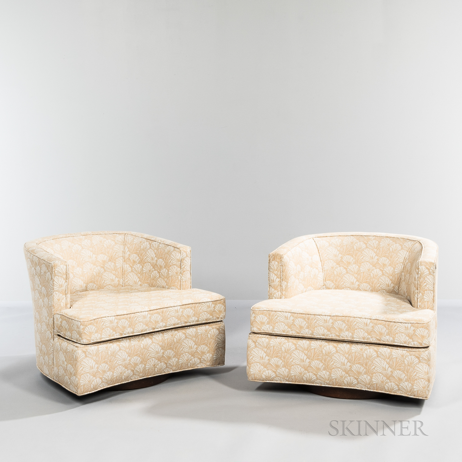 Two Harvey Probber (1922-2003) Swivel Club Chairs