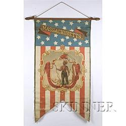 Polychrome Painted Canvas Massachusetts Centennial Banner,
