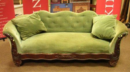 Early Victorian Mahogany and Mahogany Veneer Green Velvet Upholstered Settee.