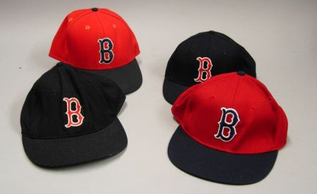 Four 1980s Boston Red Sox Game Used Hats, Assorted Batting Gloves and Wristbands.