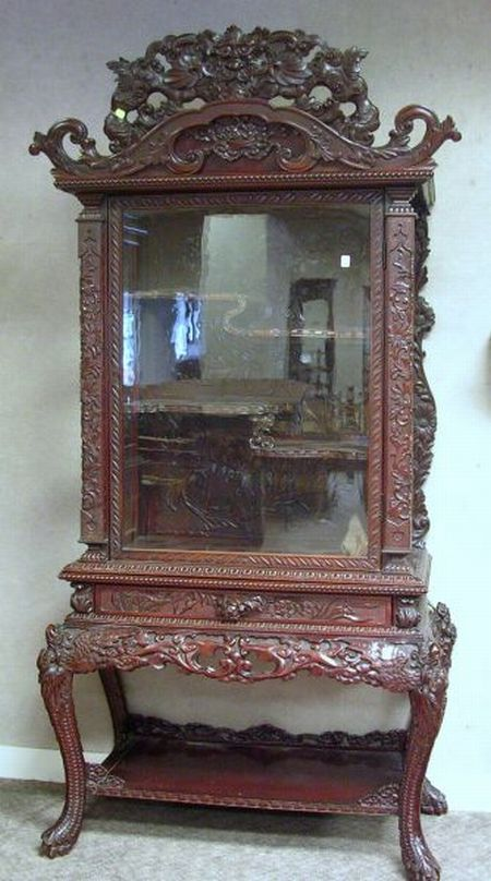 Asian Glazed Carved Hardwood Two-part Display Cabinet.