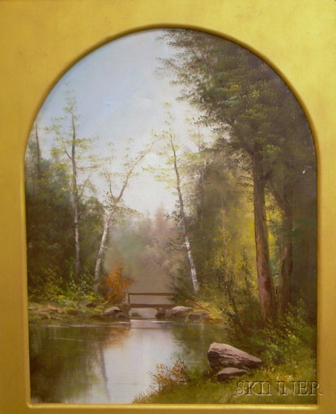 Framed American School Oil on Canvas View of Woodlands with a Footbridge