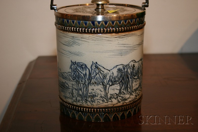 Doulton Lambeth Salt-glaze and Silver Plate Mounted Biscuit Barrel