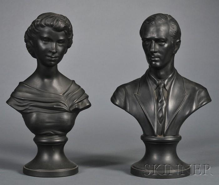 Pair of Wedgwood Black Basalt Busts