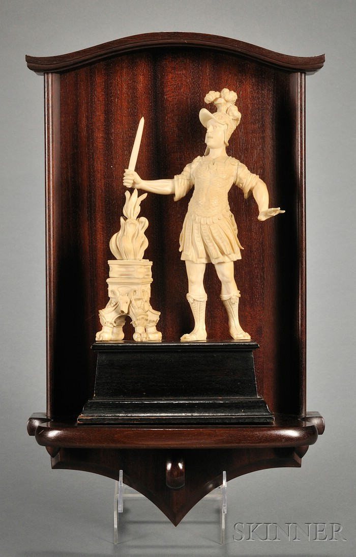 German Carved Ivory Figural Group of a Warrior and a Brazier