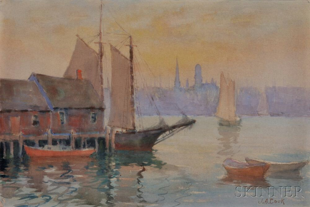 John A. Cook (American, 1870-1936)      Two Framed Watercolors of the Gloucester Waterfront.