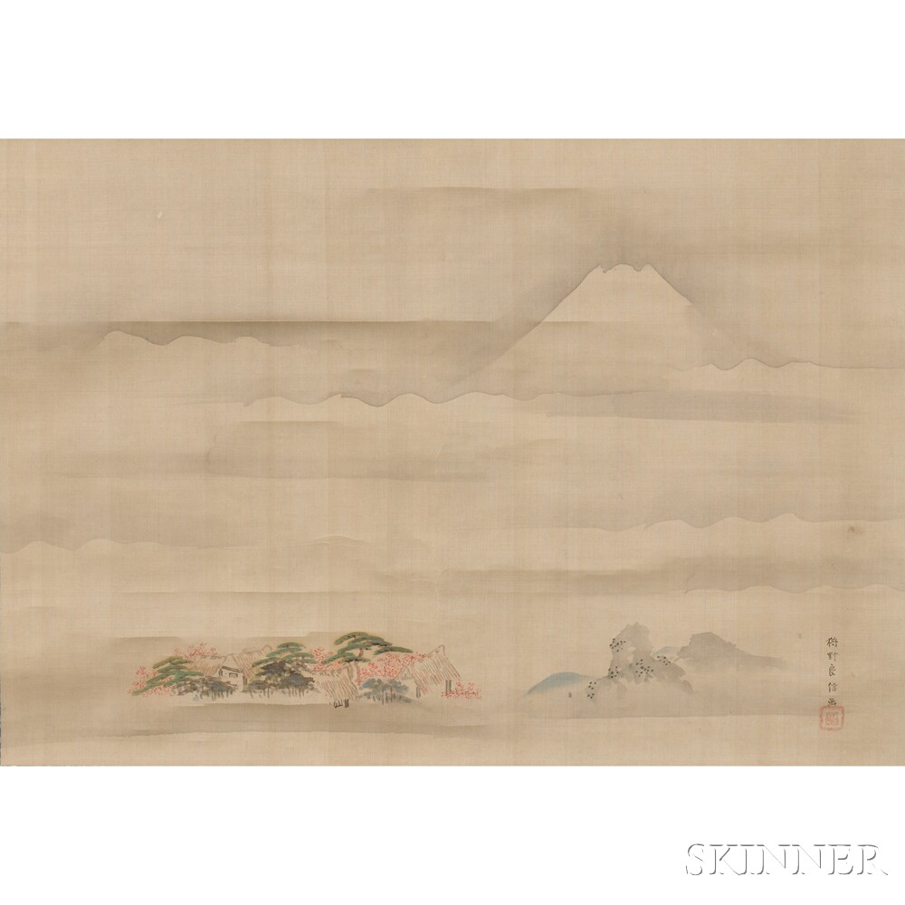 Hanging Scroll Depicting a Landscape with Mount Fuji