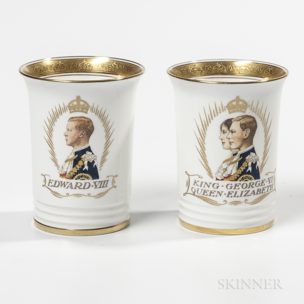 Two Minton Bone China Commemorative Beakers