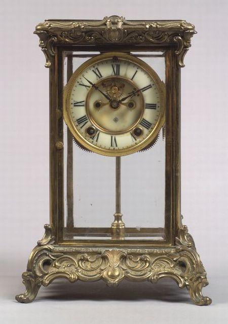 Ansonia Clock Co. Rococo Revival Gilt Metal Mantel Clock