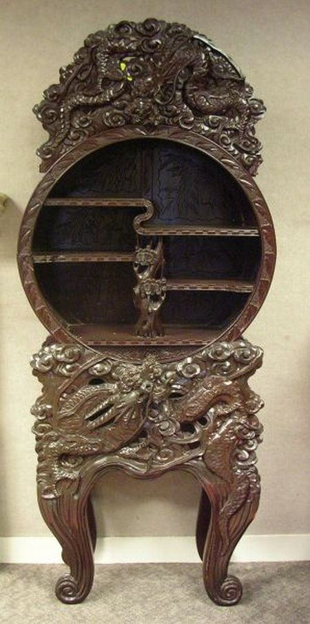 Asian Circular Carved Hardwood Display Cabinet on Stand.