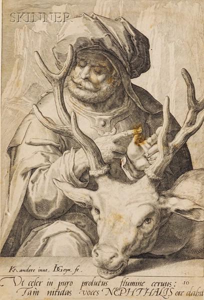 Jacob de Gheyn II (Dutch, 1565-1629), After Karel van Mander I (Dutch, 1548-1606)  Lot of Nine Plates...
