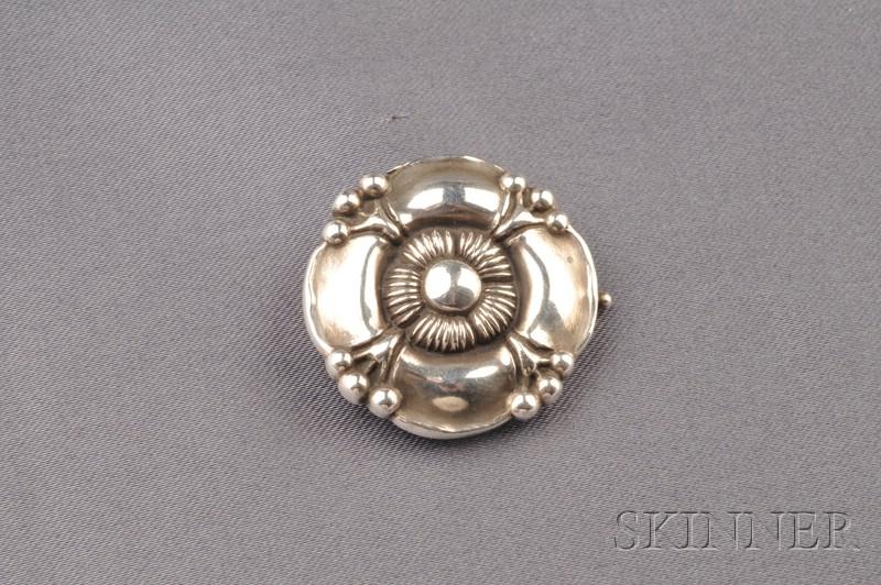 .830 Silver Flower Brooch, Georg Jensen