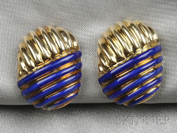 14kt Gold and Enamel Earclips