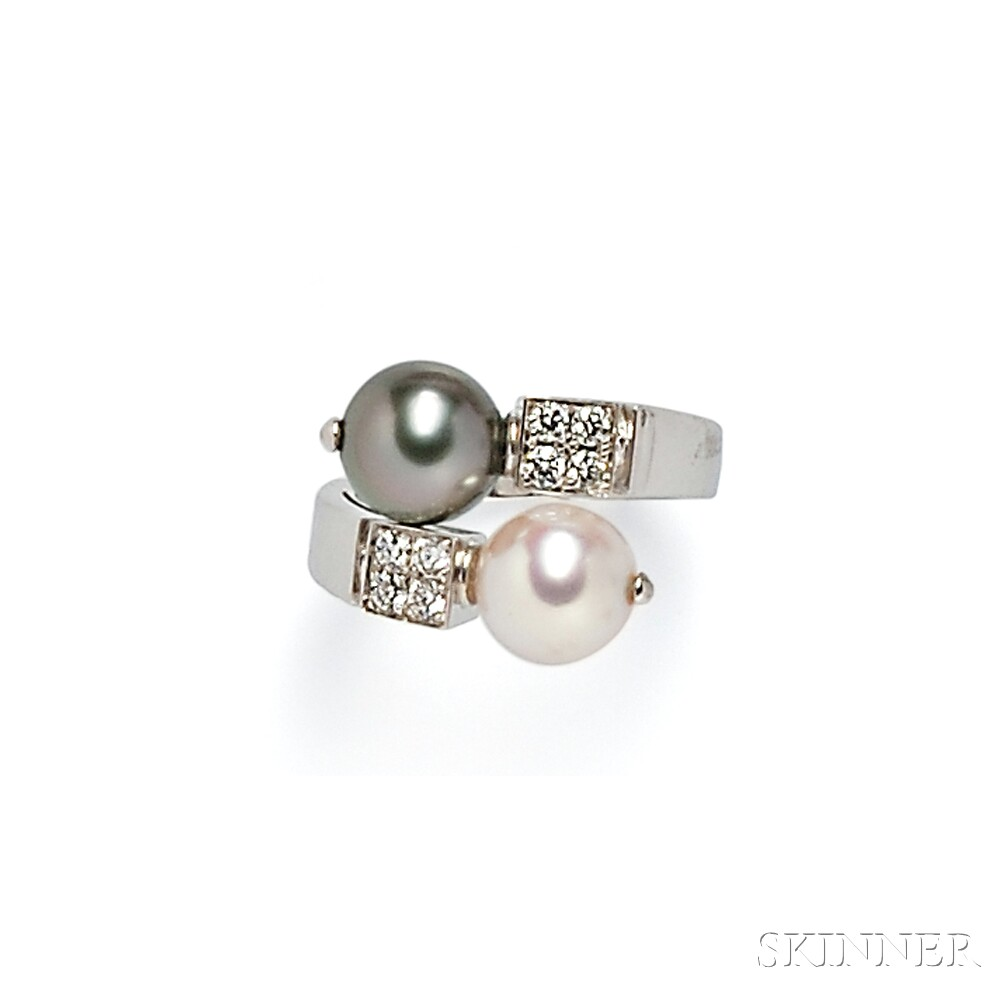 18kt White Gold, Cultured Pearl, and Diamond Bypass Ring, Bulgari