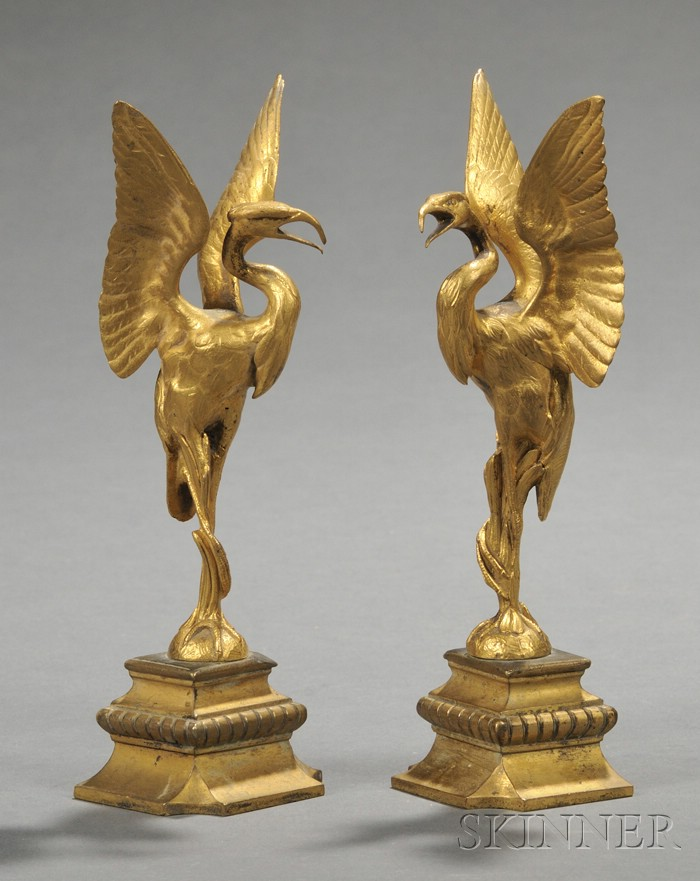 Pair of Gilt-bronze Bird Ornaments