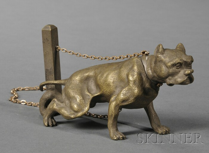 Small Bronze Figure of a Chained Bulldog