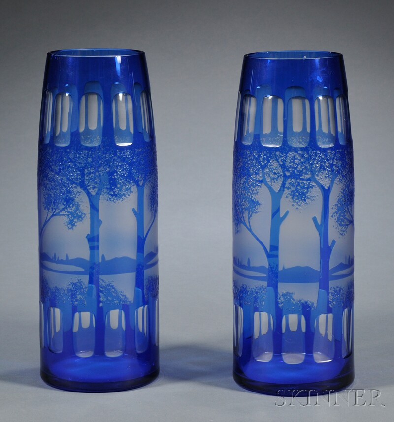 Pair of Blue Cut-to-colorless Vases