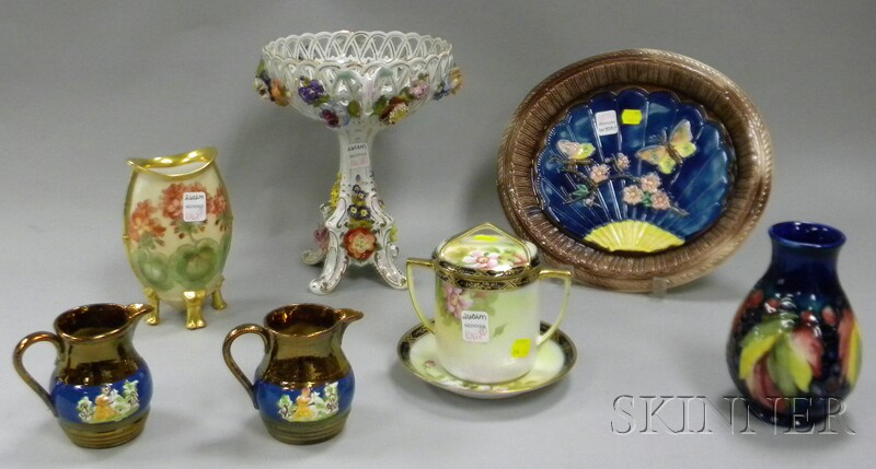 Eight Assorted Decorated Pottery and Porcelain Items