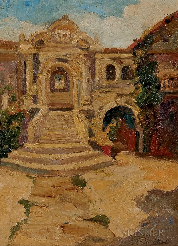 Anthony Thieme (American, 1888-1954)    Charming Courtyard