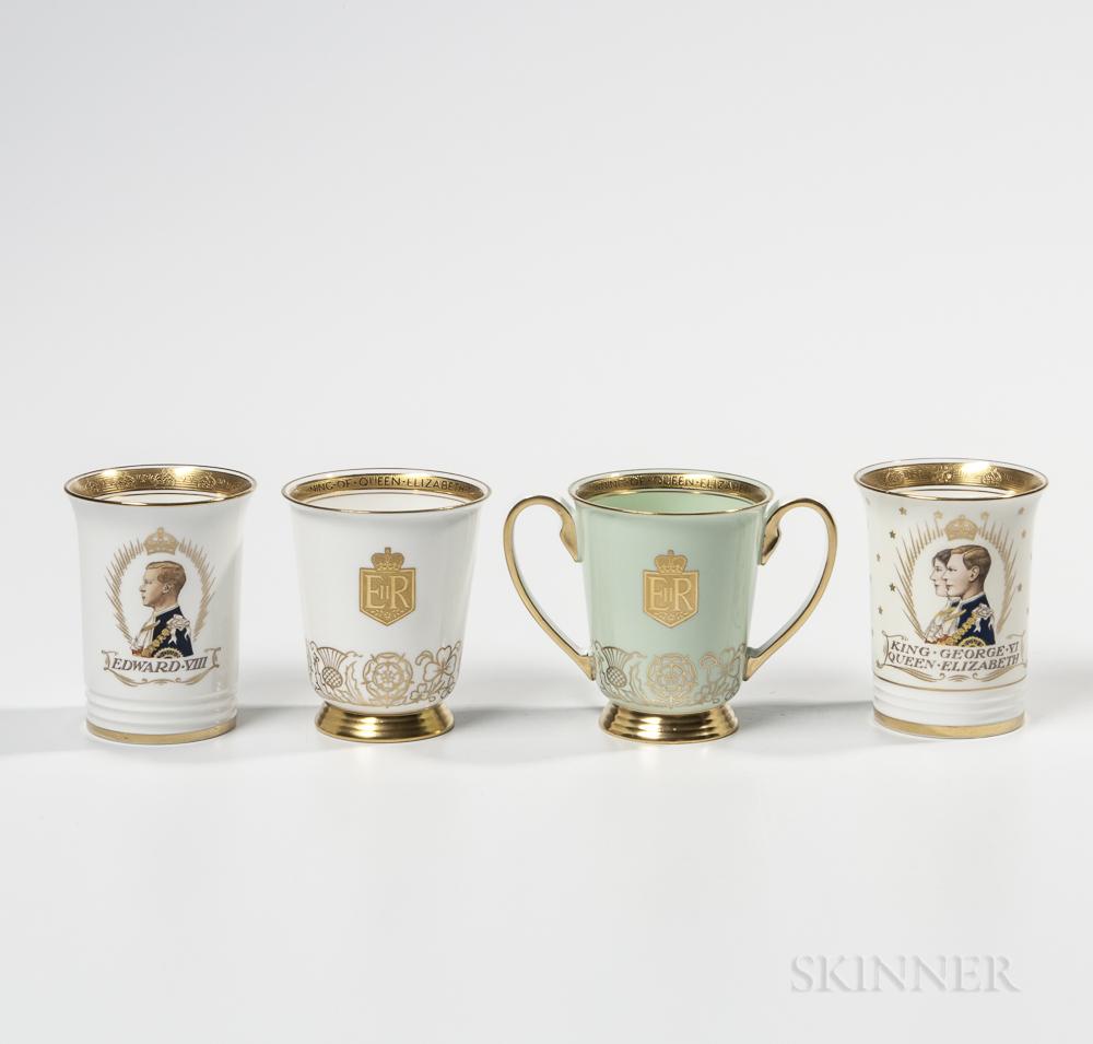 Four Minton Bone China Commemorative Beakers