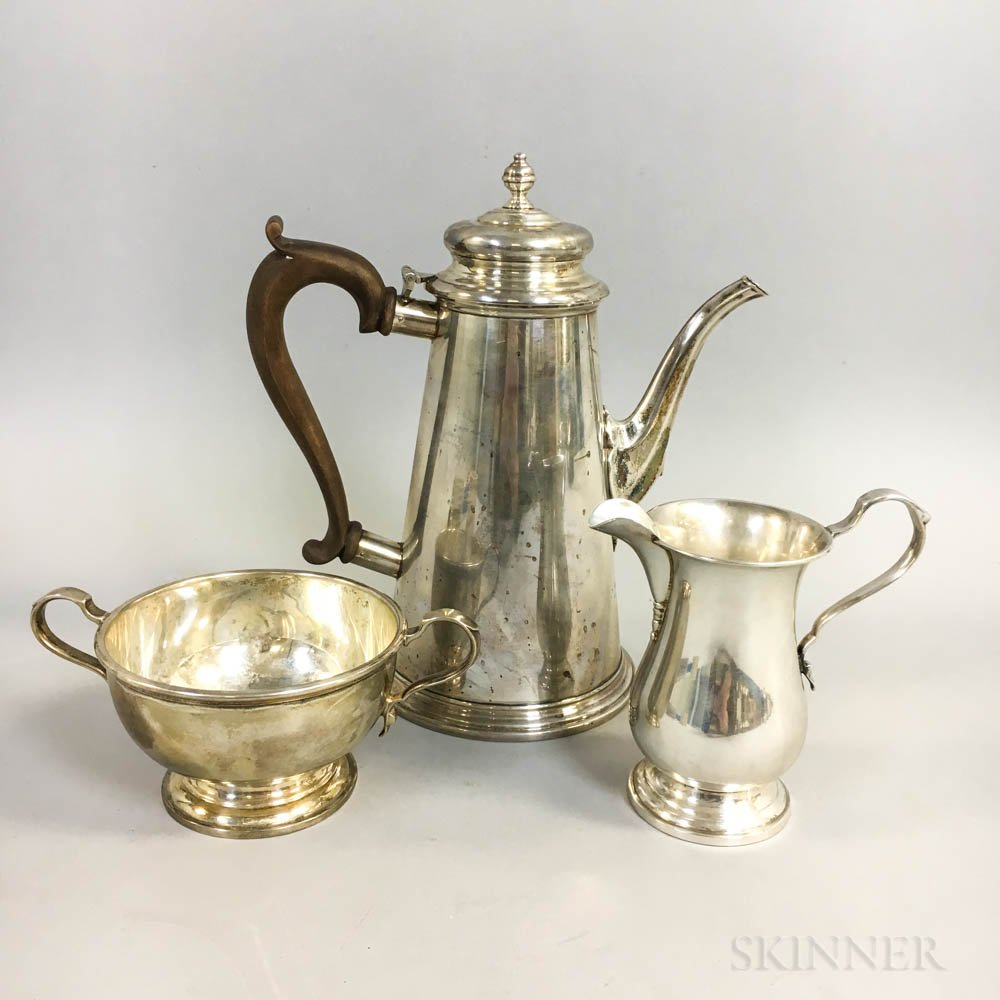 Three Pieces of Sterling Silver Coffee Ware