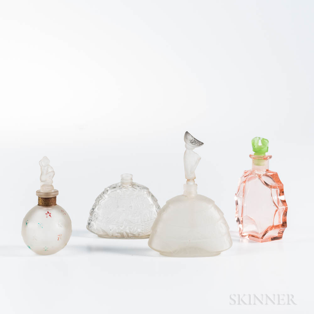 Four French Art Deco Glass Perfumes