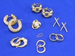 Six Pairs of Italian Gold Earrings
