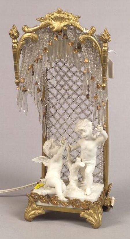 Louis XVI-style Bisque Porcelain Gilt Metal Boudoir Lamp