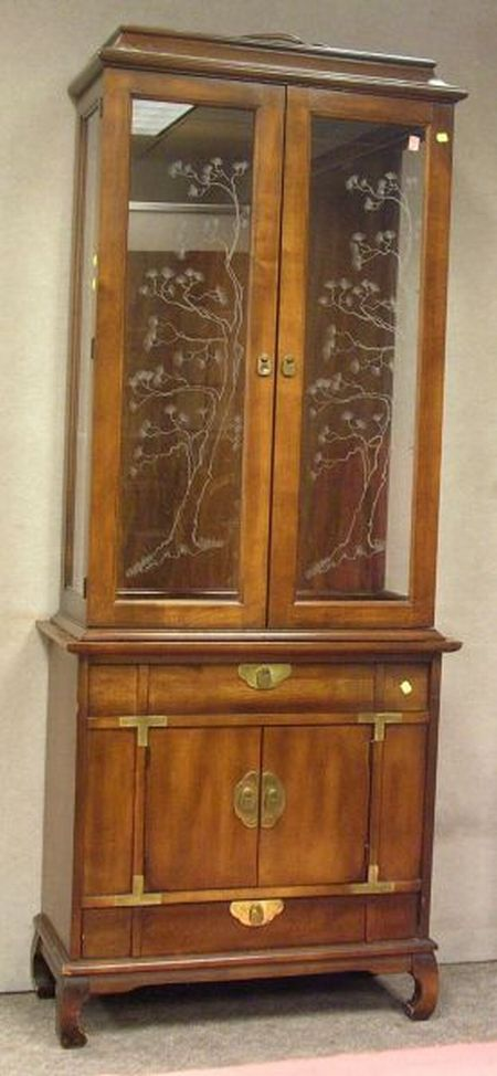 Glazed Fruitwood Two-Part Display Cabinet.