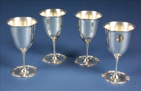 Set of Twelve Peruvian Sterling Wine Goblets