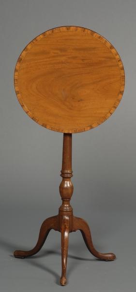 Victorian Crossbanded  Mahogany and Inlay Tilt-top Tripod Table