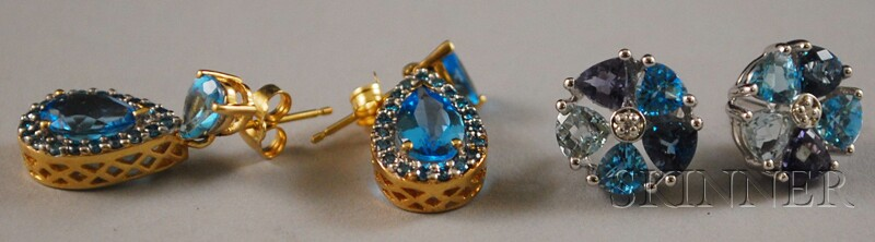 Two Pairs of Gold and Blue Topaz Earrings