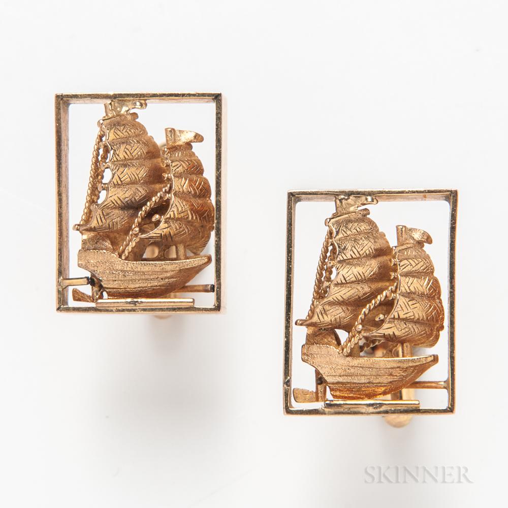 14kt Gold Ship Cuff Links