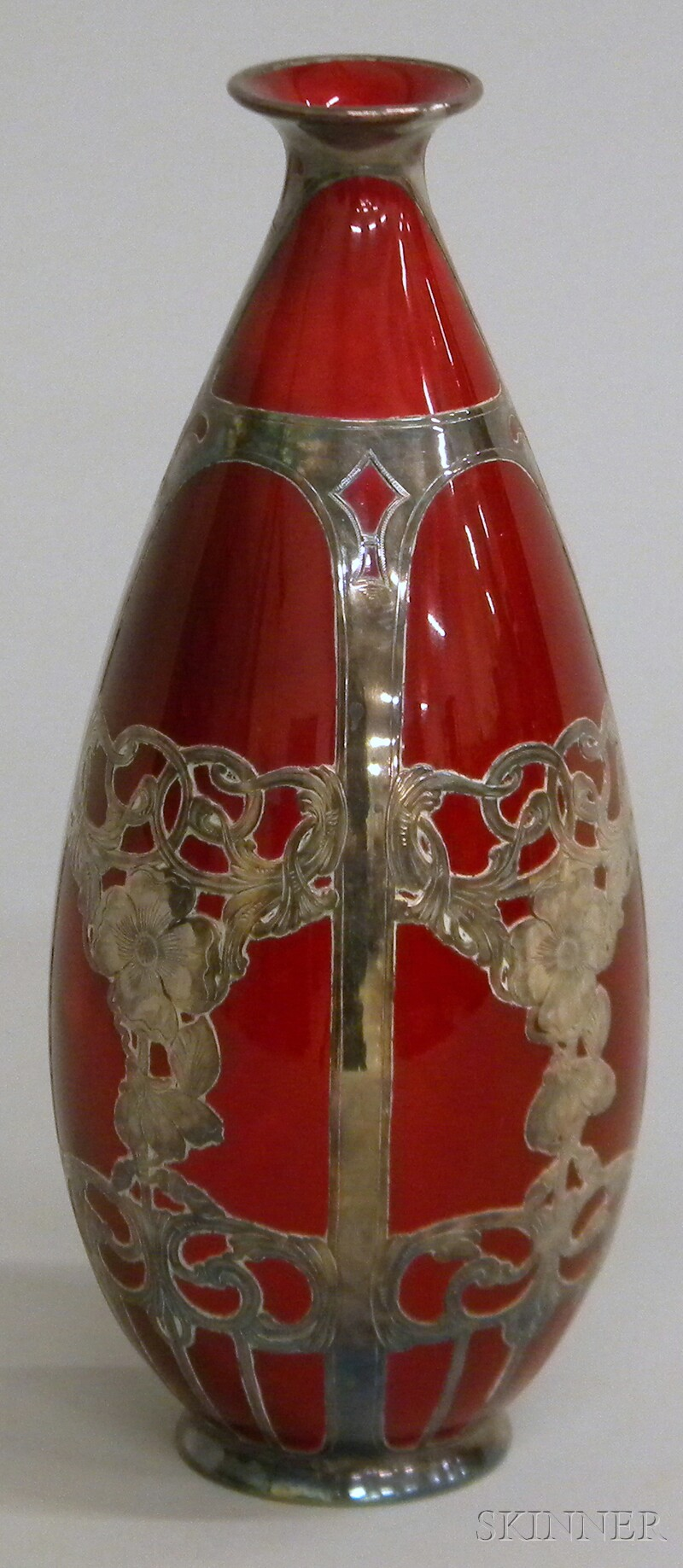 Royal Doulton Sterling Silver Overlay Flambe Glaze Ceramic Vase