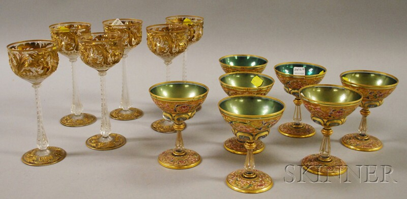 Two Sets of Enamel-decorated Glass Stemware