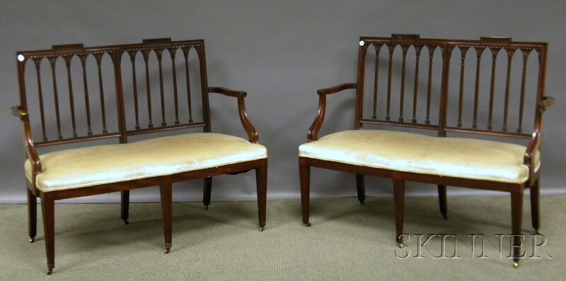 Pair of Federal-style Upholstered Carved Mahogany Settees